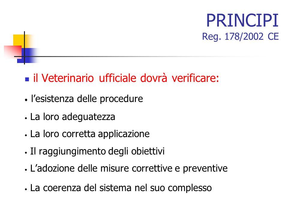 PRINCIPI Reg. 178/2002 CE il Veterinario ufficiale dovrà verificare: