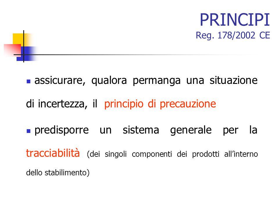 PRINCIPI Reg. 178/2002 CE assicurare, qualora permanga una situazione di incertezza, il principio di precauzione.