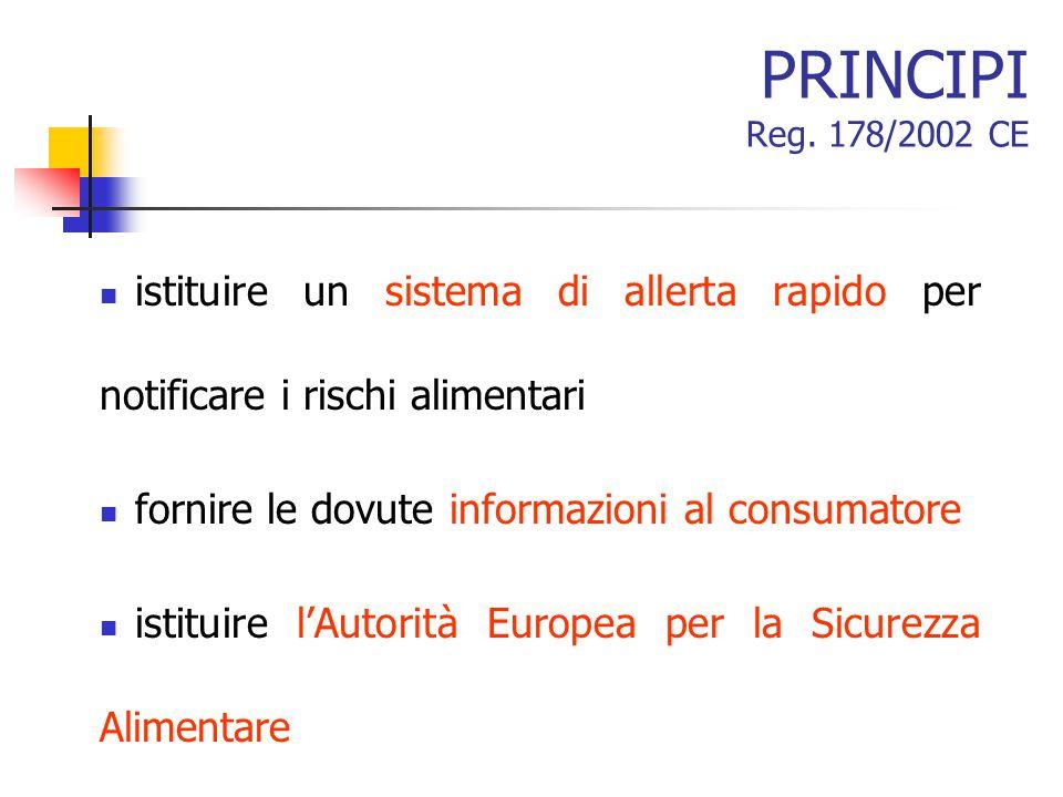 PRINCIPI Reg. 178/2002 CE istituire un sistema di allerta rapido per notificare i rischi alimentari.