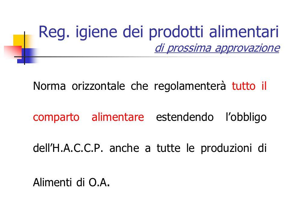 Reg. igiene dei prodotti alimentari di prossima approvazione