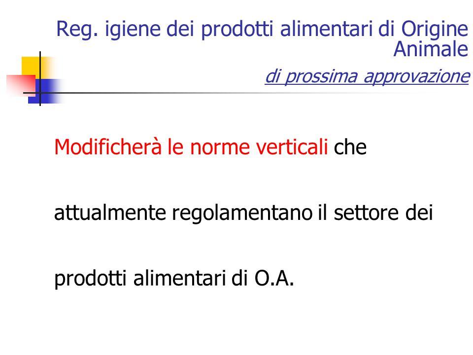Reg. igiene dei prodotti alimentari di Origine Animale di prossima approvazione