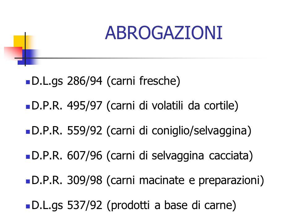 ABROGAZIONI D.L.gs 286/94 (carni fresche)