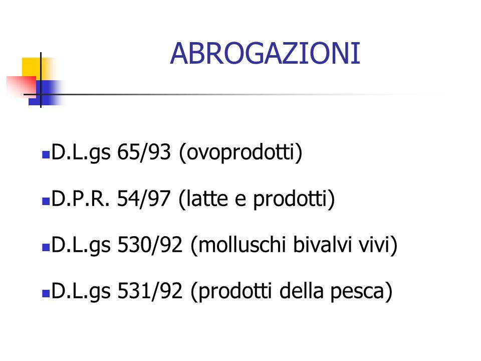 ABROGAZIONI D.L.gs 65/93 (ovoprodotti) D.P.R. 54/97 (latte e prodotti)