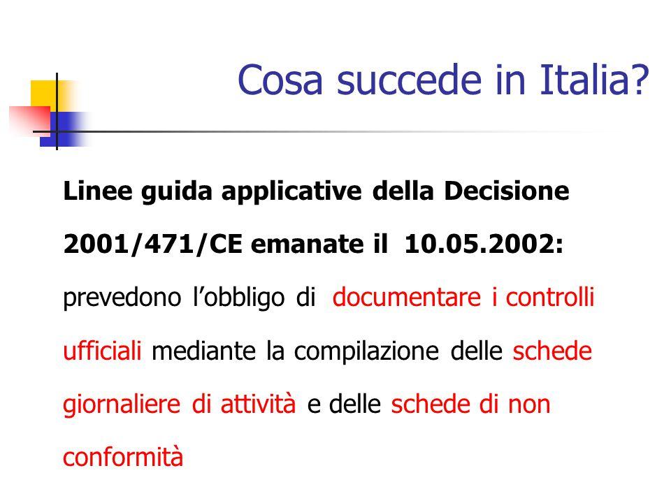 Cosa succede in Italia Linee guida applicative della Decisione 2001/471/CE emanate il 10.05.2002: