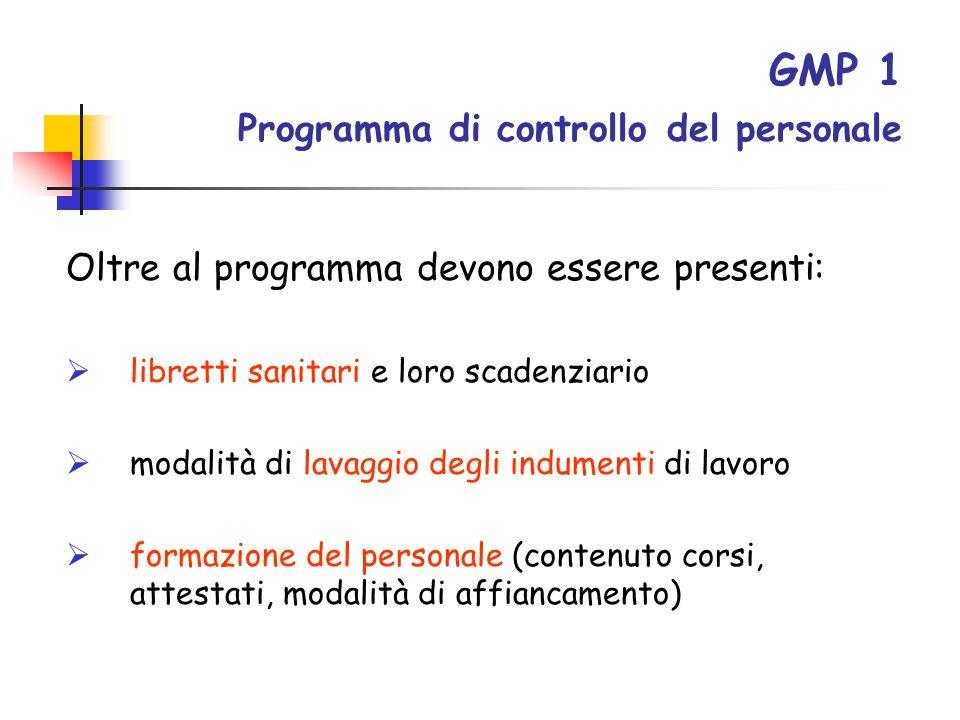 GMP 1 Programma di controllo del personale