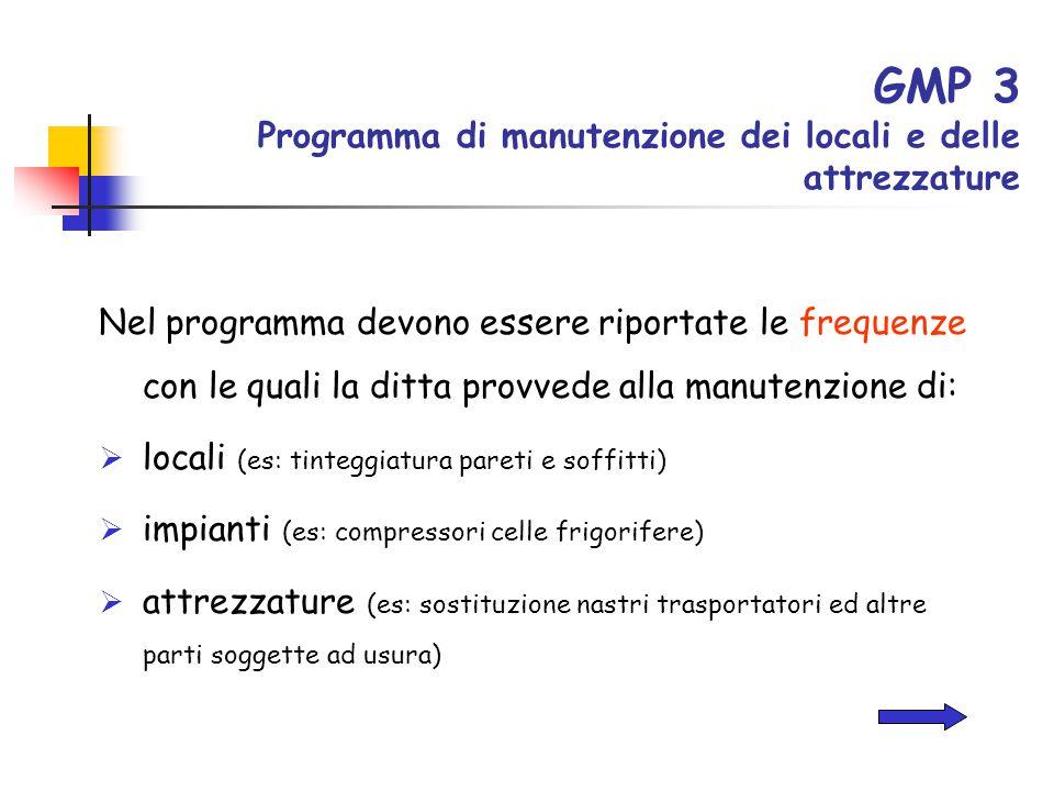 GMP 3 Programma di manutenzione dei locali e delle attrezzature