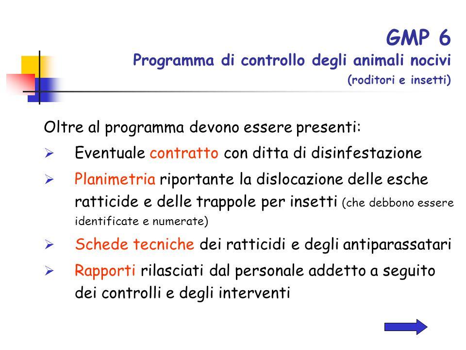 GMP 6 Programma di controllo degli animali nocivi (roditori e insetti)