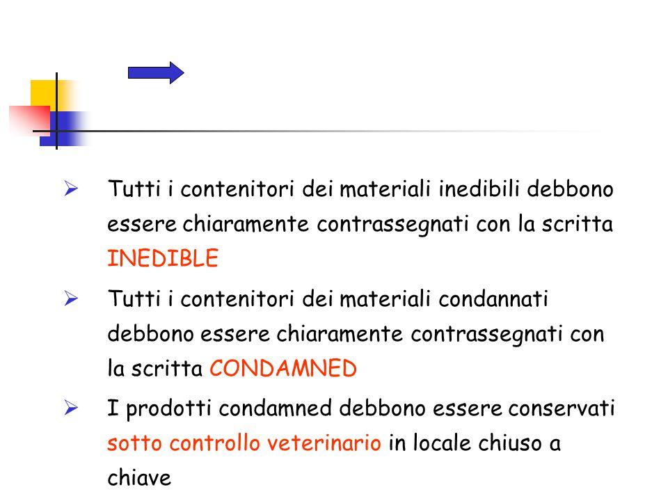 Tutti i contenitori dei materiali inedibili debbono essere chiaramente contrassegnati con la scritta INEDIBLE