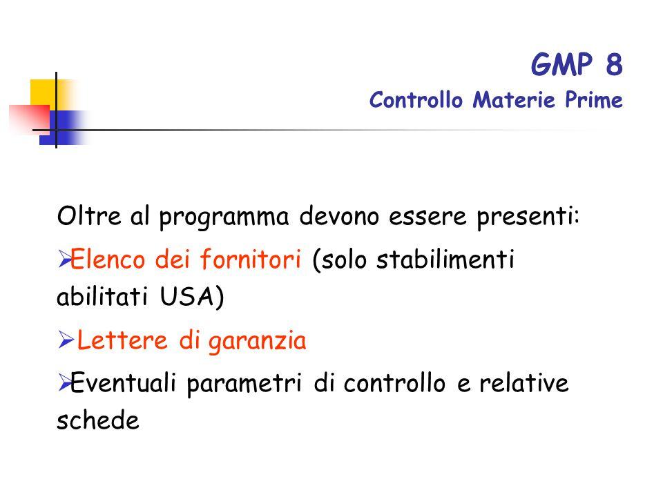 GMP 8 Controllo Materie Prime
