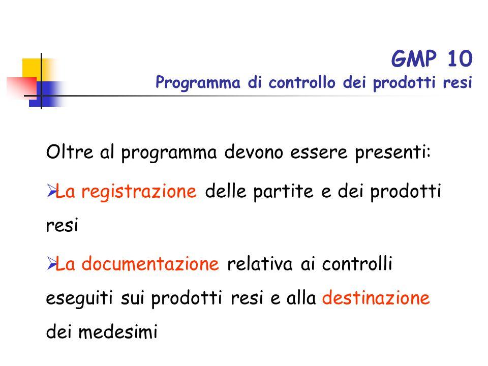 GMP 10 Programma di controllo dei prodotti resi