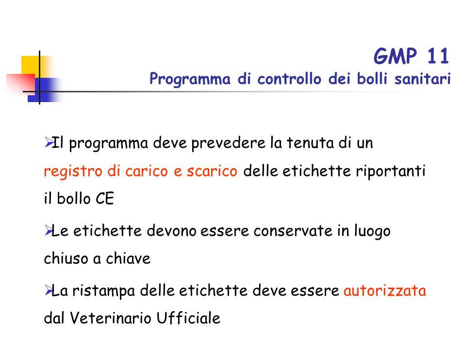 GMP 11 Programma di controllo dei bolli sanitari