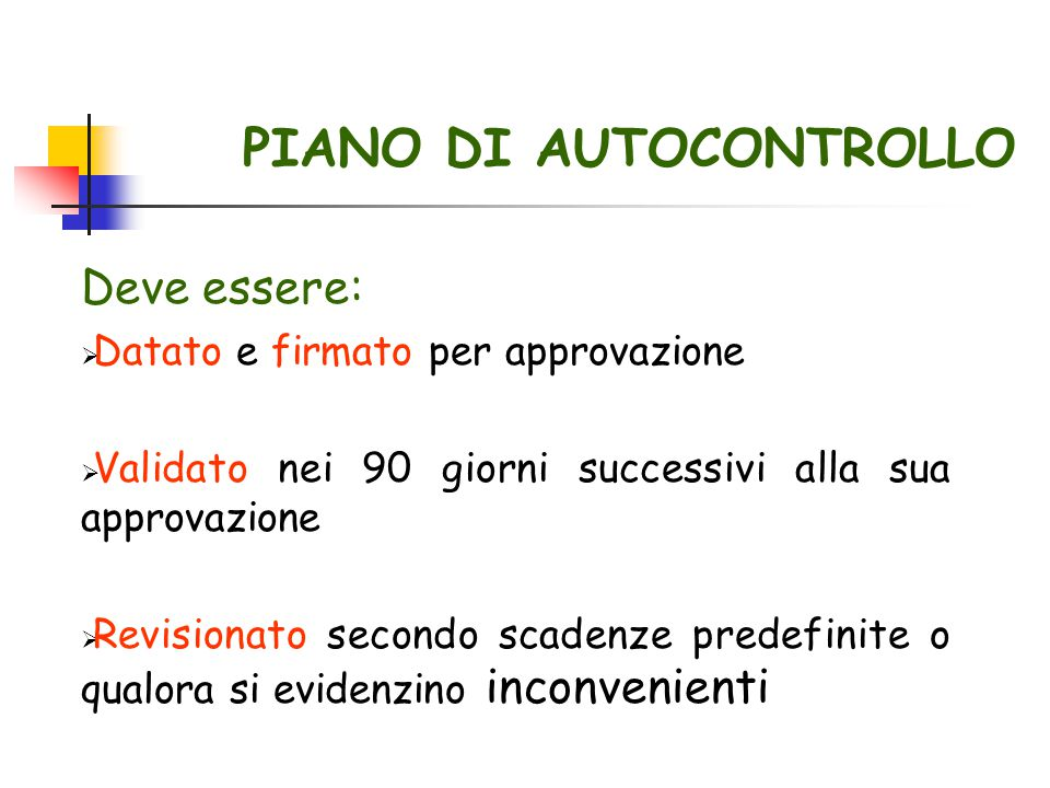 PIANO DI AUTOCONTROLLO