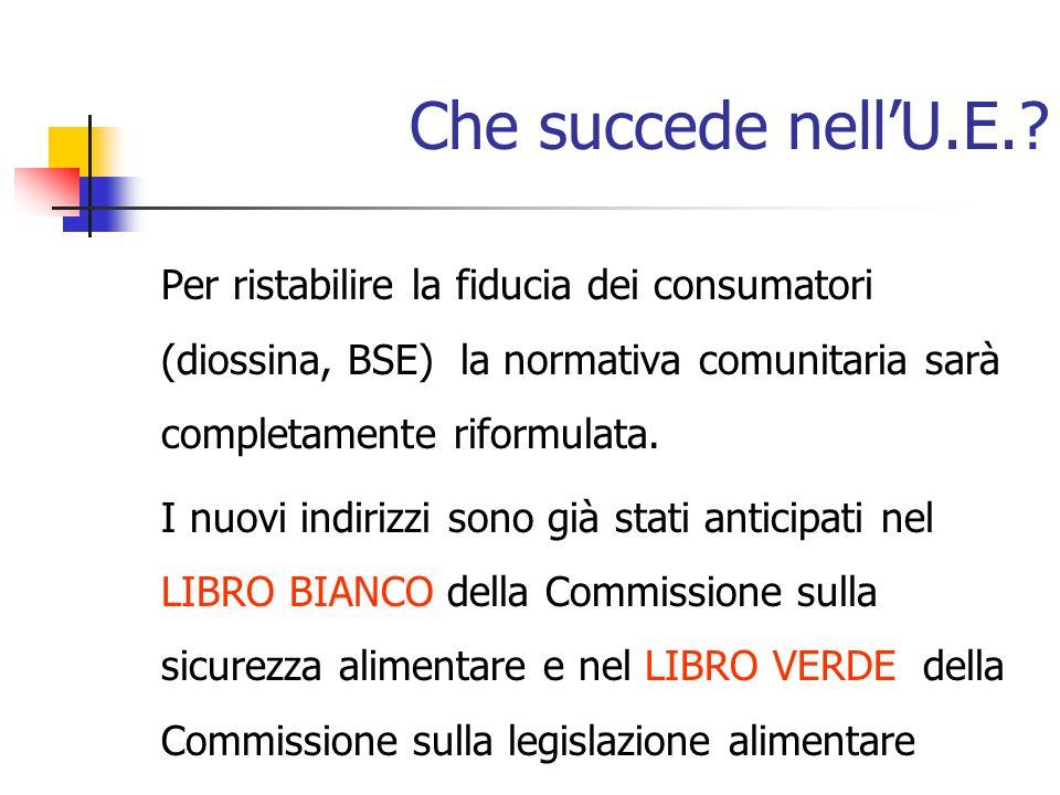 Che succede nell'U.E. Per ristabilire la fiducia dei consumatori (diossina, BSE) la normativa comunitaria sarà completamente riformulata.