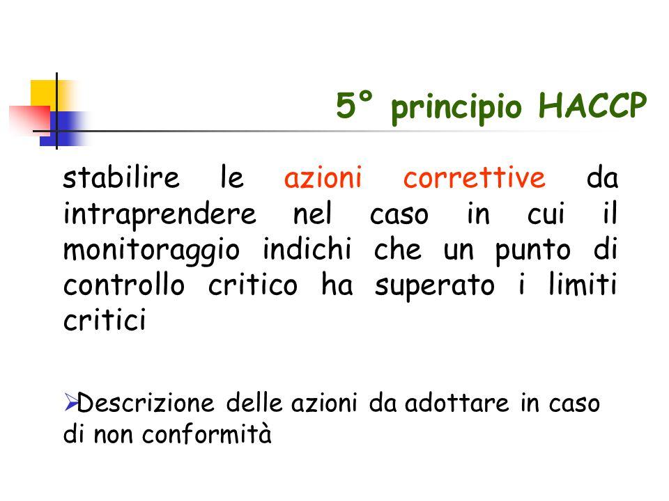 5° principio HACCP