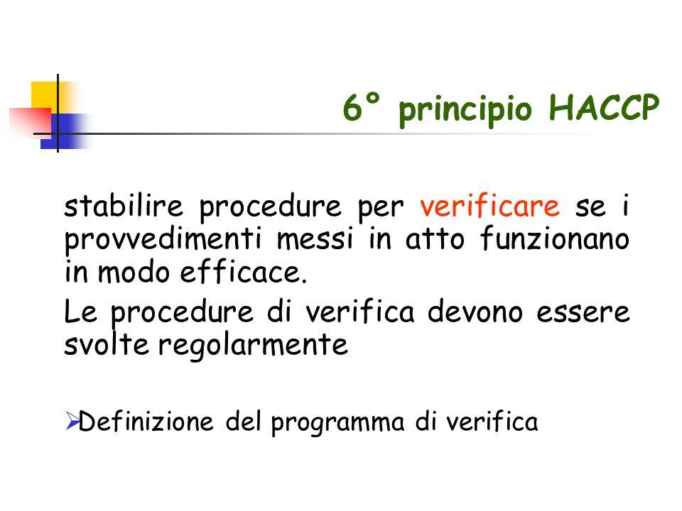 6° principio HACCP stabilire procedure per verificare se i provvedimenti messi in atto funzionano in modo efficace.