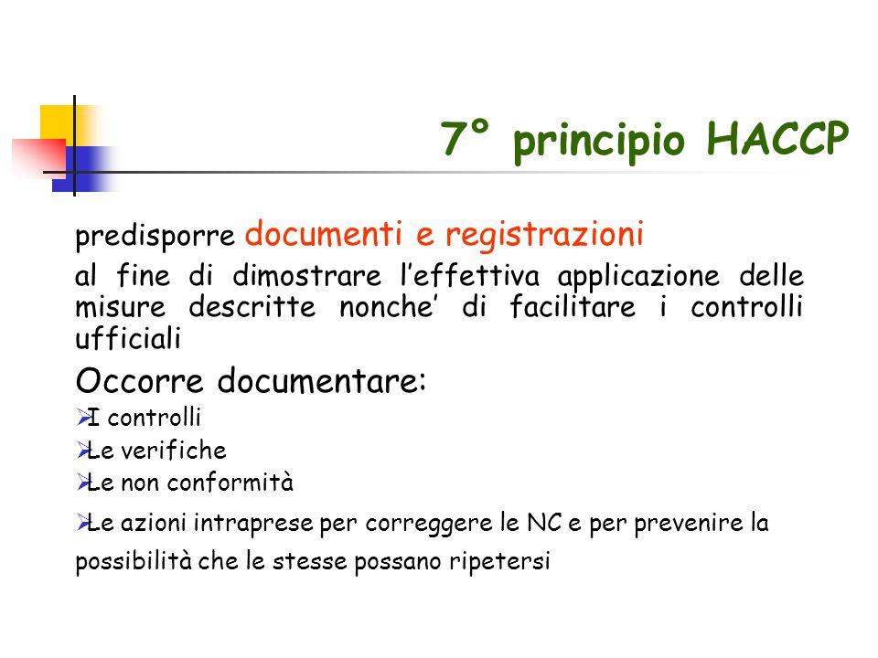 7° principio HACCP Occorre documentare: