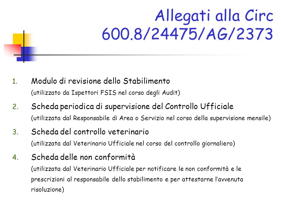 Allegati alla Circ 600.8/24475/AG/2373