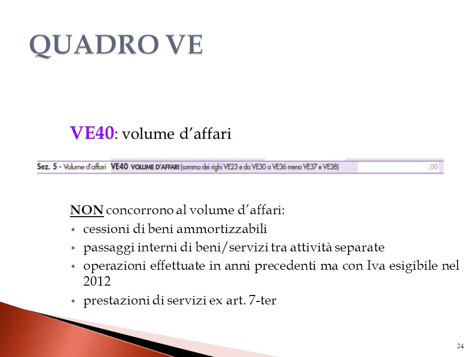 QUADRO VE VE40: volume d'affari NON concorrono al volume d'affari:
