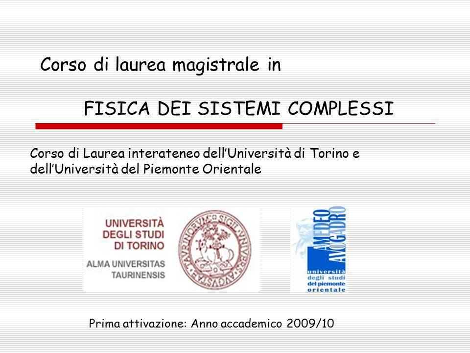 Corso di laurea magistrale in FISICA DEI SISTEMI COMPLESSI