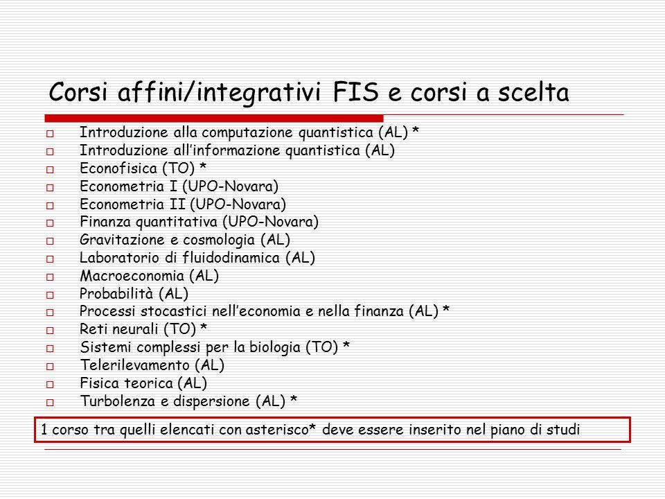 Corsi affini/integrativi FIS e corsi a scelta