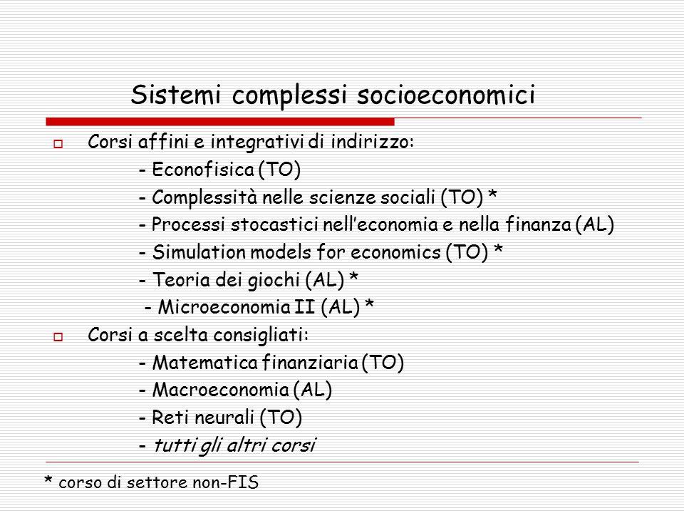 Sistemi complessi socioeconomici