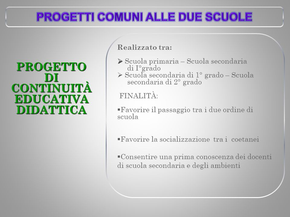 PROGETTI COMUNI ALLE DUE SCUOLE DI CONTINUITÀ EDUCATIVA DIDATTICA