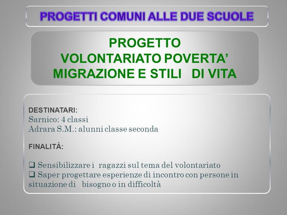 PROGETTO VOLONTARIATO POVERTA' MIGRAZIONE E STILI DI VITA