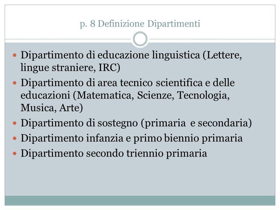 p. 8 Definizione Dipartimenti