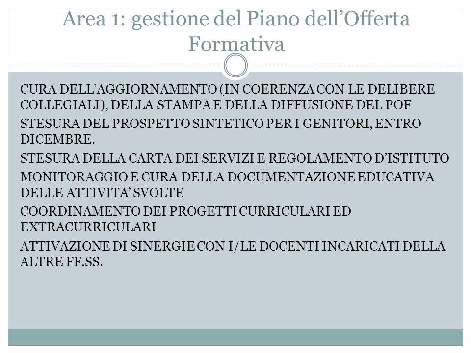 Area 1: gestione del Piano dell'Offerta Formativa