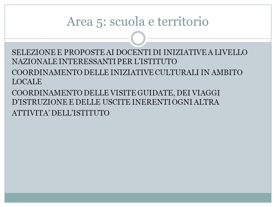 Area 5: scuola e territorio