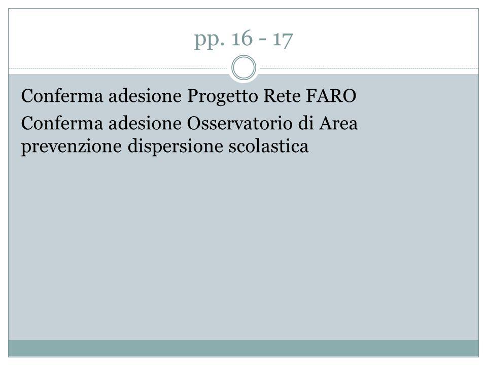 pp. 16 - 17 Conferma adesione Progetto Rete FARO