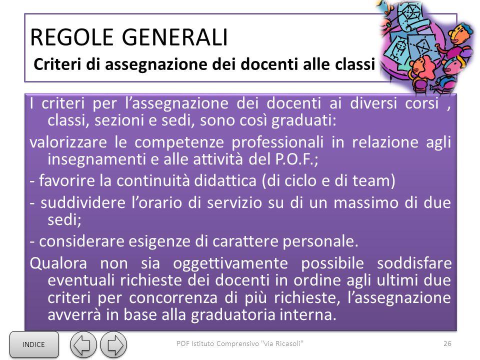 REGOLE GENERALI Criteri di assegnazione dei docenti alle classi