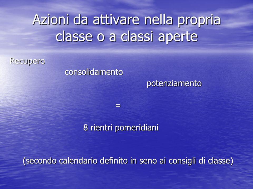 Azioni da attivare nella propria classe o a classi aperte