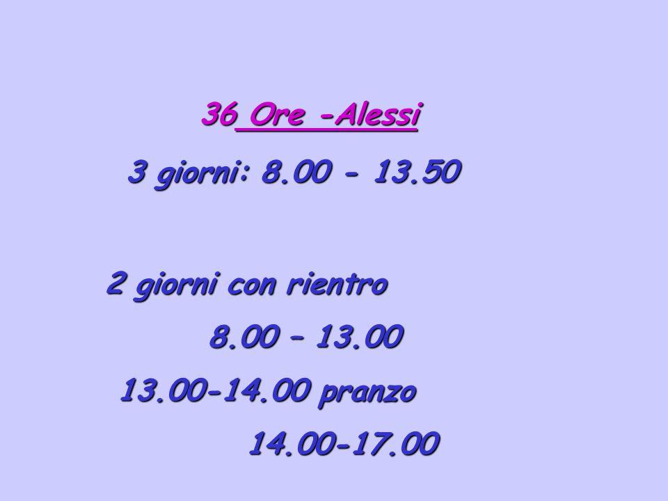 Ore -Alessi 3 giorni: 8.00 - 13.50 2 giorni con rientro 8.00 – 13.00 13.00-14.00 pranzo 14.00-17.00