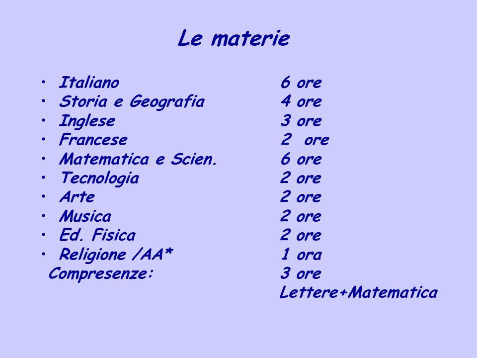 Le materie Italiano 6 ore Storia e Geografia 4 ore Inglese 3 ore