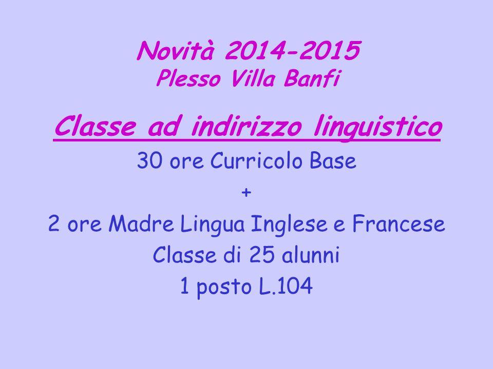 Novità 2014-2015 Plesso Villa Banfi