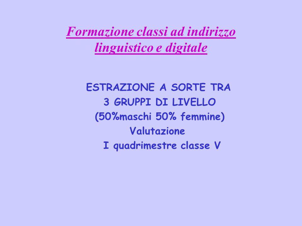 Formazione classi ad indirizzo linguistico e digitale
