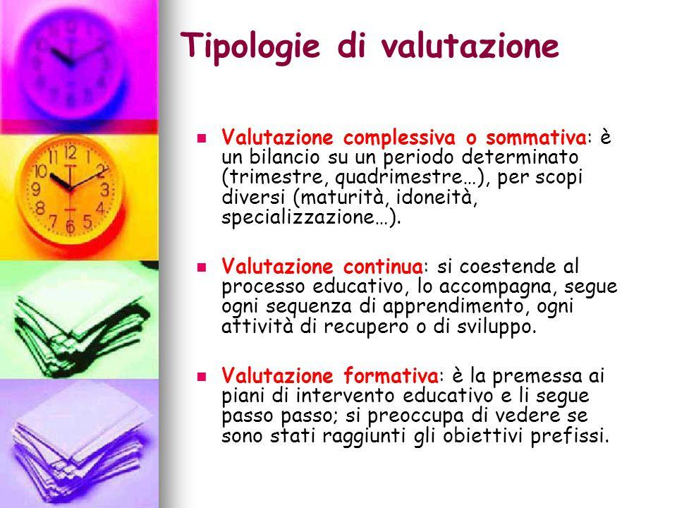 Tipologie di valutazione