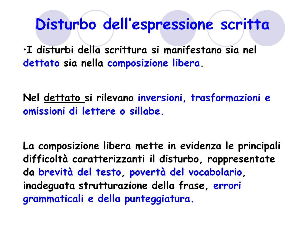 Disturbo dell'espressione scritta