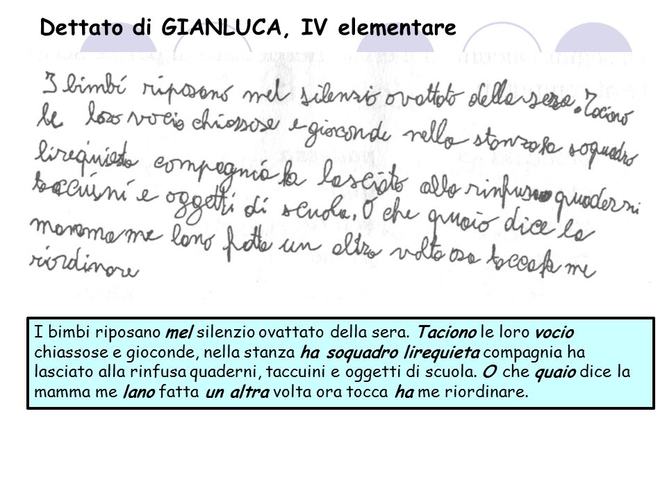 Dettato di GIANLUCA, IV elementare