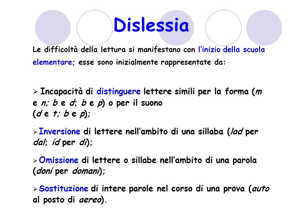 Dislessia Le difficoltà della lettura si manifestano con l'inizio della scuola elementare; esse sono inizialmente rappresentate da: