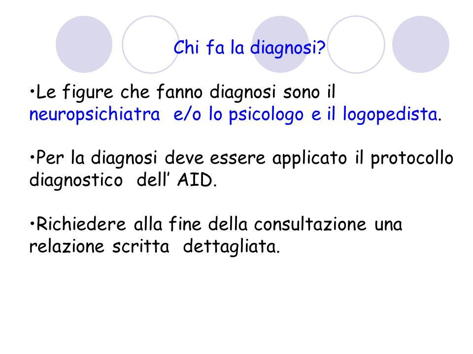 Chi fa la diagnosi Le figure che fanno diagnosi sono il neuropsichiatra e/o lo psicologo e il logopedista.