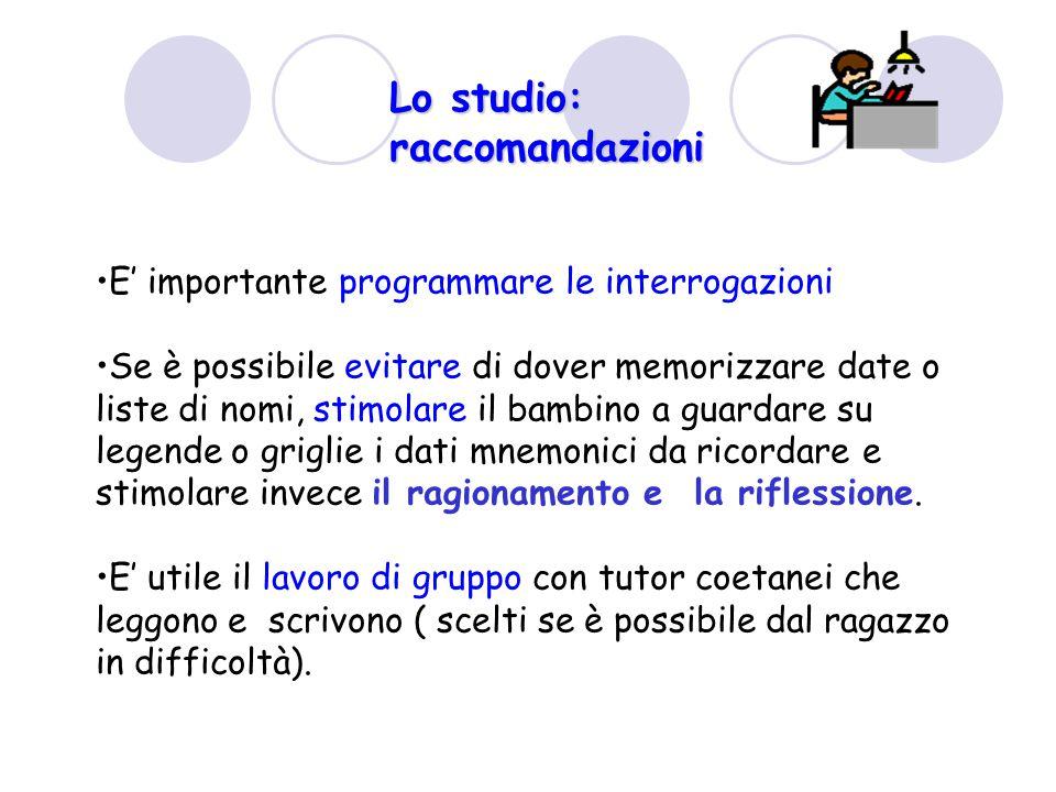 Lo studio: raccomandazioni E' importante programmare le interrogazioni