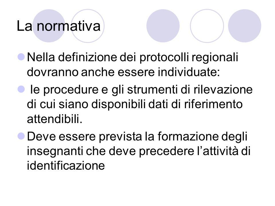 La normativa Nella definizione dei protocolli regionali dovranno anche essere individuate: