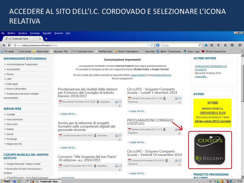 ACCEDERE AL SITO DELL'I.C. CORDOVADO E SELEZIONARE L'ICONA RELATIVA