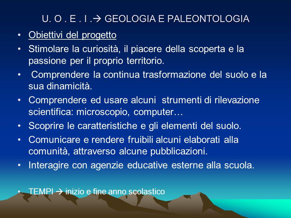 U. O . E . I . GEOLOGIA E PALEONTOLOGIA