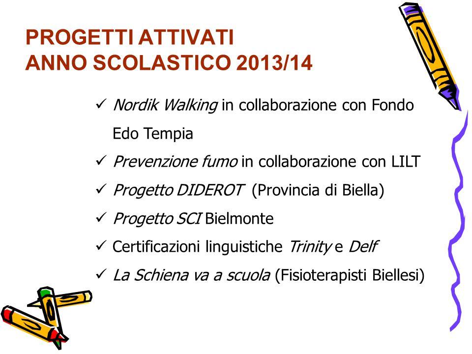 PROGETTI ATTIVATI ANNO SCOLASTICO 2013/14