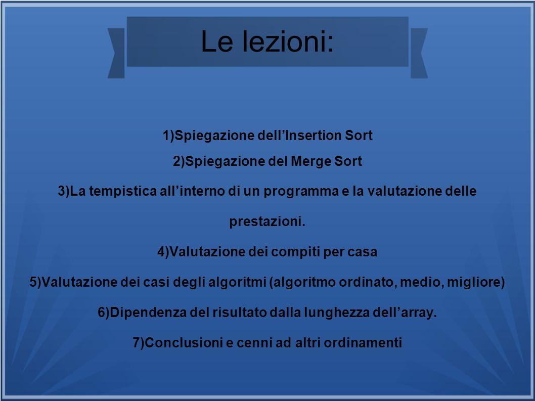 Le lezioni: Spiegazione dell'Insertion Sort Spiegazione del Merge Sort