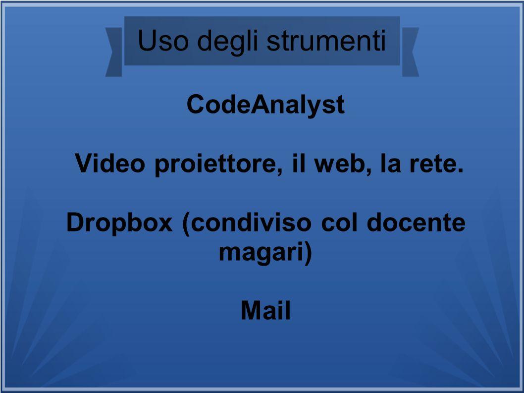 Uso degli strumenti CodeAnalyst Video proiettore, il web, la rete.