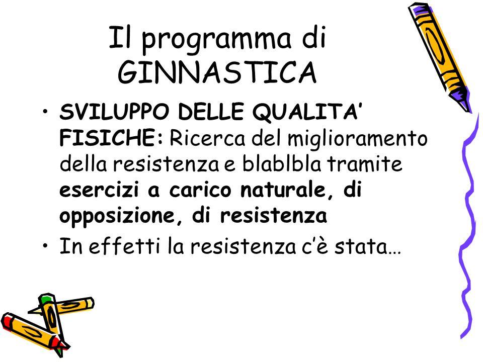 Il programma di GINNASTICA